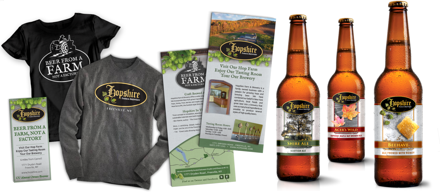 A collection of branding materials for Hopshire Farm and Brewery which included business cards, product labels, informational brochures, and clothing branding