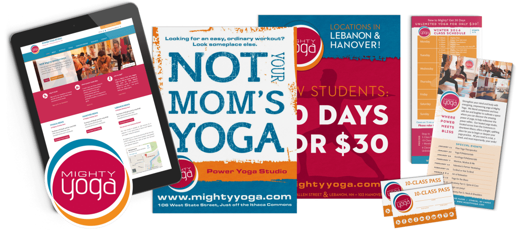 A collection of branding materials for Mighty Yoga which included punch card, rack cards, brochure, logo, and website design
