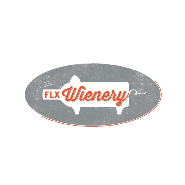 Restaurant Logo Design | FLX Wiener |owned by master sommelier Christopher Bates | offering ecclaimed food and wine | bold and humorous experience | restaurant located in Dundee, NY, Finger Lakes