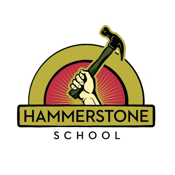 Education Logo Design | Hammerstone School |focused target audience of women, empowerment, skill building, trades learning, handcraft, carprentry school, operating self sufficently | school located in Trumansburg, NY