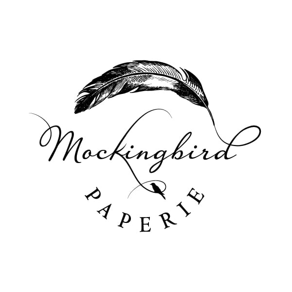 Boutique Logo Design | Mockingbird Paperie |focused target market of weddings, unique gifts, letterpress cards, social stationery, fine paper, and writing tools | stationery boutique located downtown on the Ithaca Commons, Ithaca, NY