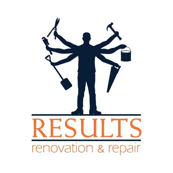 Small Business Logo Design | Results Renovation and Repair | target market of custom carpentry, residential and commercial contruction, home repairs, home maitanance, remodeling, and renovation services | repair and renovation business located Groton, NY