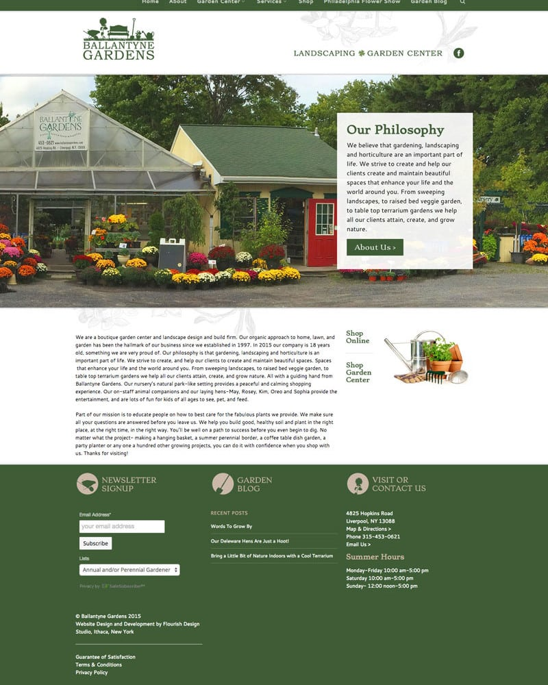 Website Design | Ballantyne Gardens | focused target market on gardening and landscaping | business located in Liverpool, NY