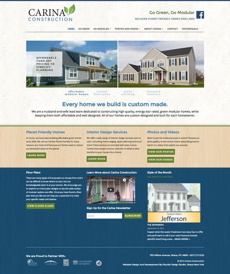 Website Design | Carina Construction |target market focused on building, environmentally friendly, homes|construction business located in Ithaca, NY