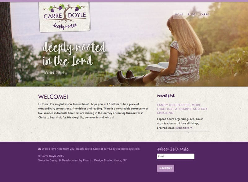 Website Design | Carre Doyle | target market of blog sharing and spiritual education| Located in Keuka Lake, NY