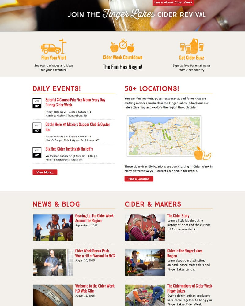 Website Design | Finger Lakes Cider Week |target market of cider tasting, Finger Lakes Brewerys, cider makers | located in the Finger Lakes Region, NY