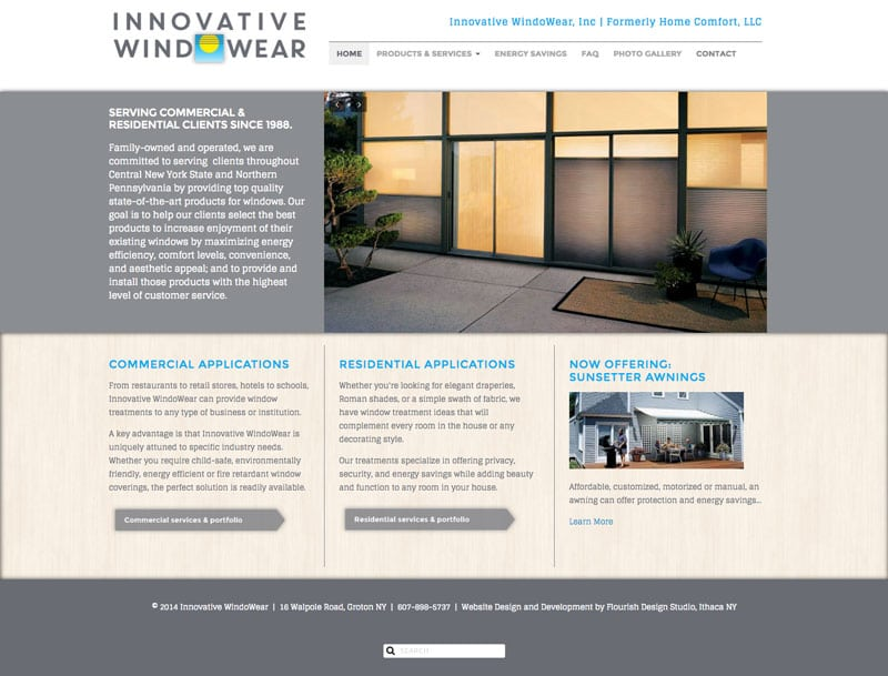 Website Design | Innovative Windowear | focused target market on windows accessories, energy saving solutions | small business located in Groton, NY