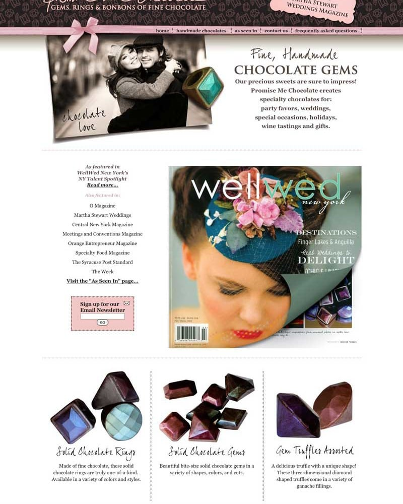 Website Design | Promise Me Chocolate l target market of luxury chocolates, weddings, special occasions | chocolate business located in Syracuse, NY