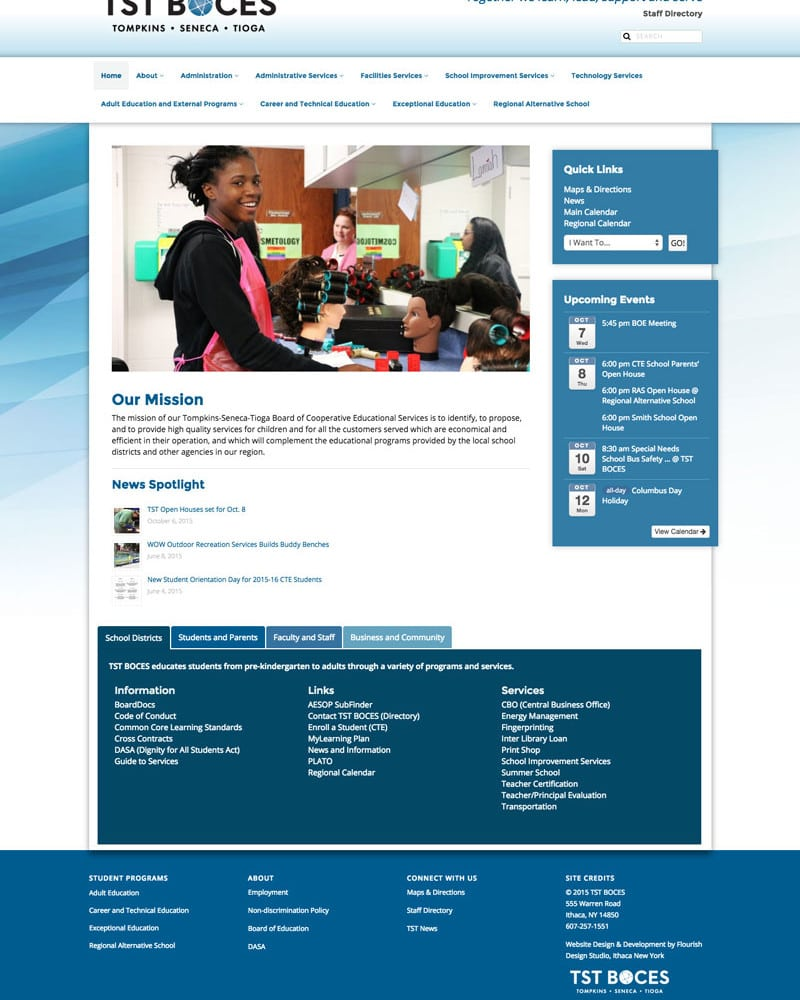 Website Design | TST BOCES | target market for education, Tompkins, Seneca, and Tioga Counties, higher education, trade learning | educational institution located in Ithaca, NY