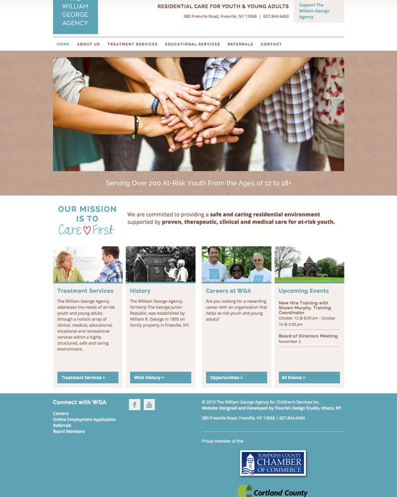 Website Design | The William George Agency |target market focused on education of at-risk youth | educational institution located in Freeville, NY