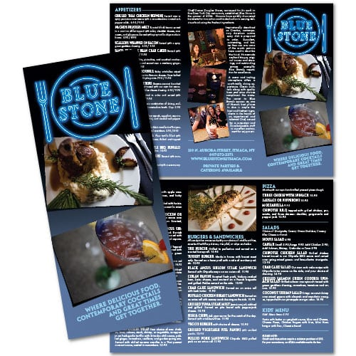 Brochure Design | Blue Stone | target market focused on dining, and food | restaurant located in Ithaca, NY