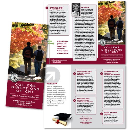 Brochure Design | College Directions of CNY | target market focused on college students, furthering education | business located in Fayetteville, NY