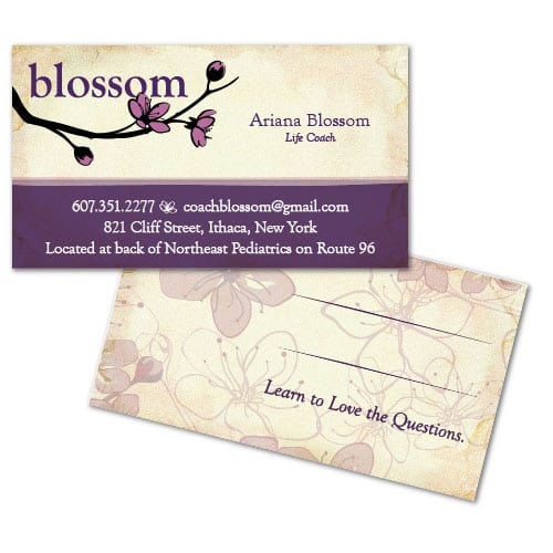 Business Card Design | Blossom| target market focused on life coaching and strategies | life coach located in Ithaca, NY