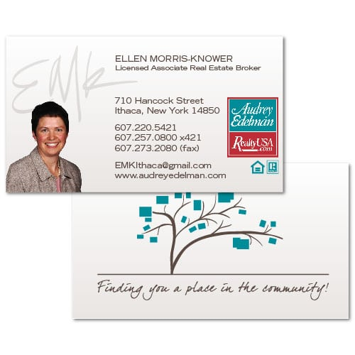 Business Card Design | Ellen Morris Knower Real Estate | target market focus on home buying and selling | real estate broker located in Ithaca, NY