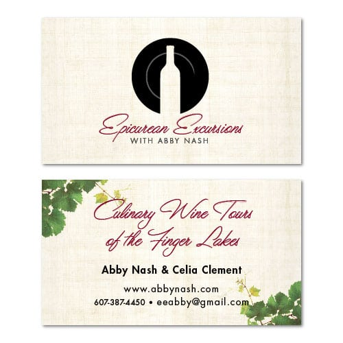 Business Card Design   Epicurean Excursions  focused target market on tourism of the Finger Lakes, guided visits, wineries, restaurants, deluxe accomodations, and wine education events   small wine centered business located in Ithaca, NY
