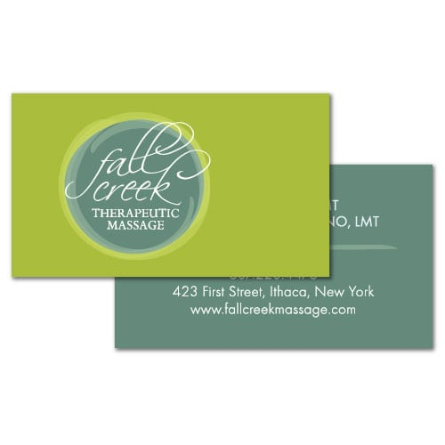 Business Card Design   Fall Creek Therapeutic Massage  target market focused on men, women, and massage services   therapeutic massage located in Ithaca, NY