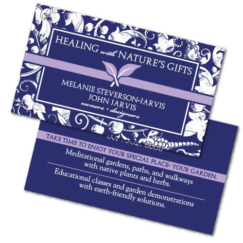 Business Card Design | Healing with Natures Gifts | target market focused on educational classes and garden | business located in Ithaca, NY