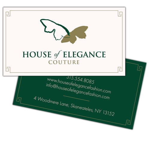 Business Card Design | House of Elegance Couture | target market of womens fashion design and merchandise | boutique located in Skenateles, NY