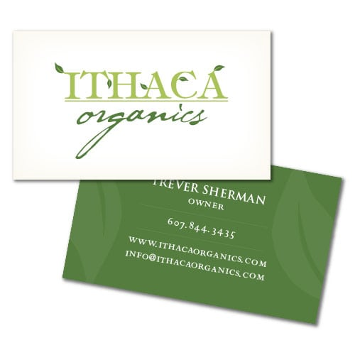Business Card Design | Ithaca Organics | focused target market of CSA, food, produce, and farm share | organic business located in Ithaca, NY