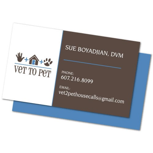 Business card Design | Vet to Pet | target market focused on veterinary care, house calls and pets | veterinary care located in Ithaca, NY