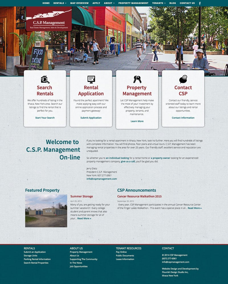 Website Design | C.S.P Management | target market focused on real estate management, sales, and development | real estate business located in Ithaca, NY