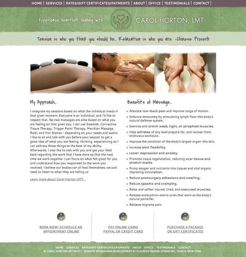 Website Design |Carol Horton Massage Therapy | target market on massage and wellness| massage therapist located in Ithaca, NY
