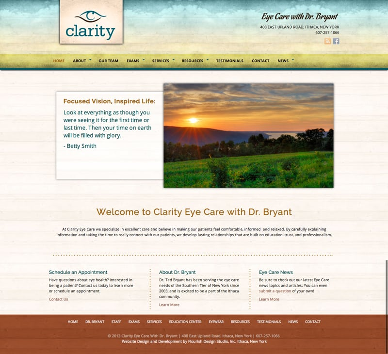 Website Design | Clarity Eye Care with Dr. Bryant |target market focused on specialty eye care and optometry | specialty eye care located in Ithaca, NY