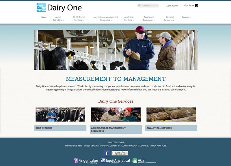 Website Design | Dairy One |target market focused on processing, agricultural management, and analytics | business located in Ithaca, NY