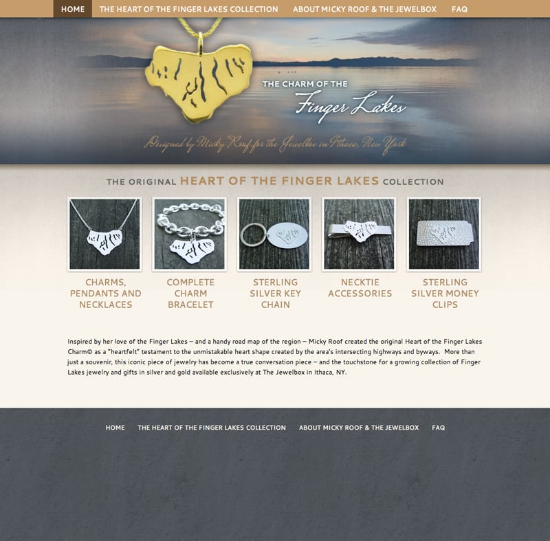 Website Design | The Heart of The Finger Lakes|owned and operated by goldsmith Micky Roof |focused target market of men and women, jewelry, artisan jewelry, luxury hand crafted jewelry | jewelry boutique located on the waterfront in Ithaca, NY