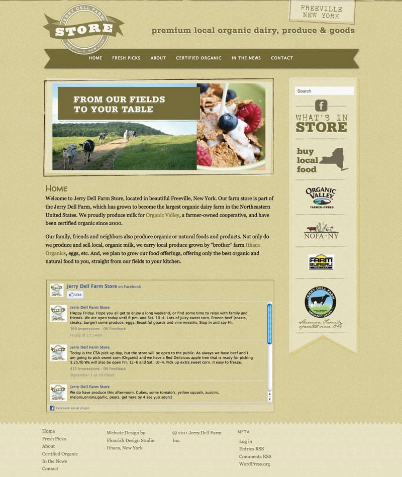 Website Design | Jerry Dell Farm Store | Certified Organic | target market focus on fresh, locally grown food and produce | farm located in Freeville, NY