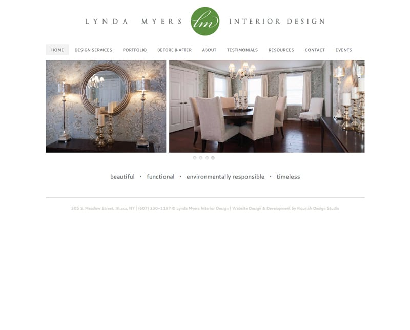 Website Design | Lynda Myers Interior Design |target market focused on environmentally sustainable interior design and space planning | interior design business located in Ithaca, NY
