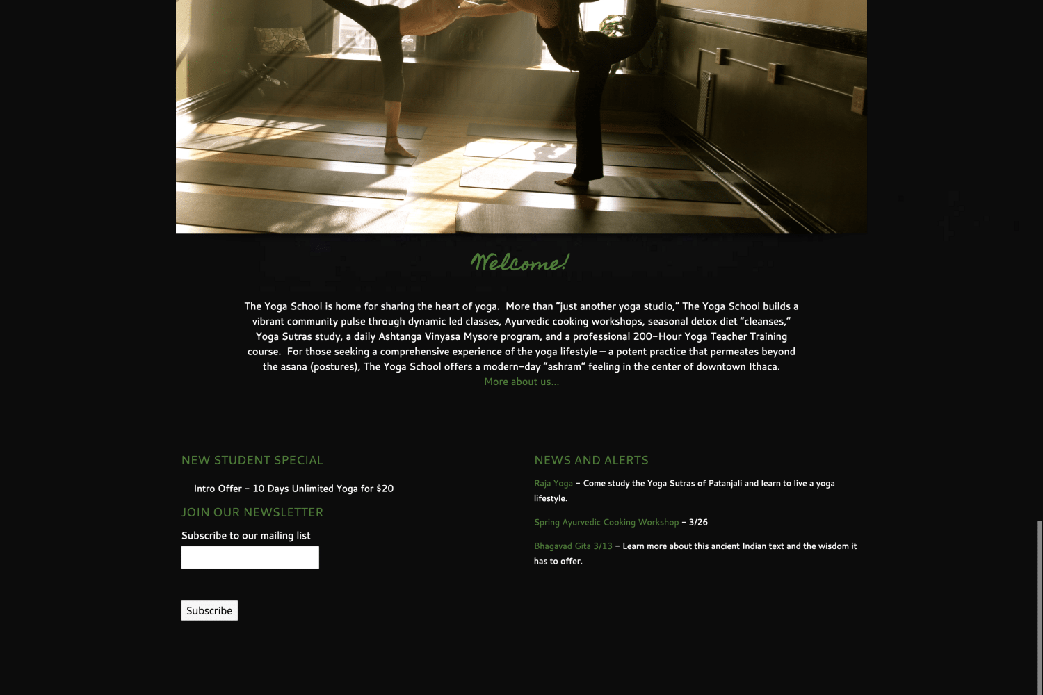 Website Design | The Yoga School | focused target market of yoga enthusists, training, and workshops | yoga school located in Ithaca, NY