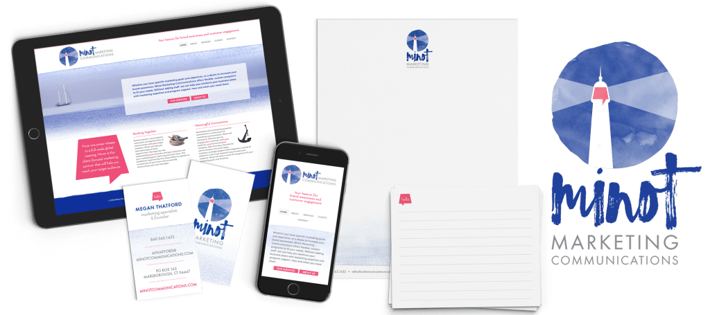 A collection of branding materials for Minot Marketing Communications which included business card, logo, notepad, notecards, and website