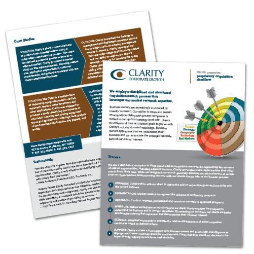Flyer Design | Clarity Corporate Growth | focused target market of advisement and market research| business located in Ithaca, NY