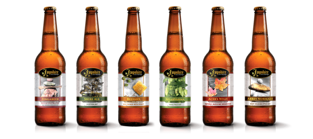 Beer Label Design | Hopshire Farm and Brewery | focused target market of local, breweries, farm grown, drinking, tasting, event hosting, and entertainment | local brewery located in Freeville, NY | member of the Finger Lakes Beer Trail