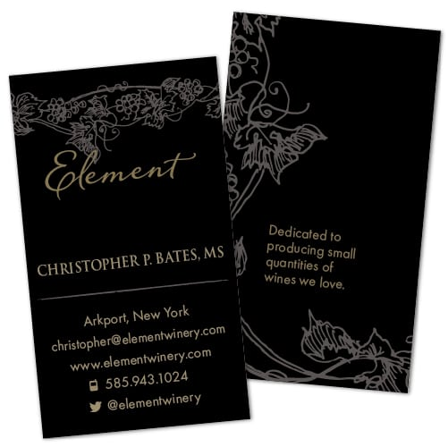 Business Card Design | Element Winery | founded by Bob Bates and Christopher Bates, Master Sommelier | target market of wine tasting, grape growers, wine makers, and New York Wineries | located in Arkport, NY