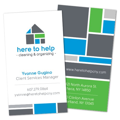 Business Card Design | Here to Help ||target market of cleaning services, orginizational expertise, household needs | business located in Ithaca, NY