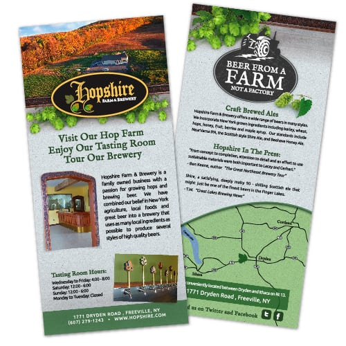 Rack Card Design | Hopshire Farm and Brewery | focused target market of local, breweries, farm grown, drinking, tasting, event hosting, and entertainment | local brewery located in Freeville, NY | member of the Finger Lakes Beer Trail
