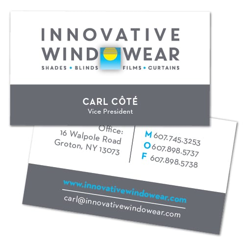Business Card Design | focused target market on windows accessories, energy saving solutions | small business located in Groton, NY