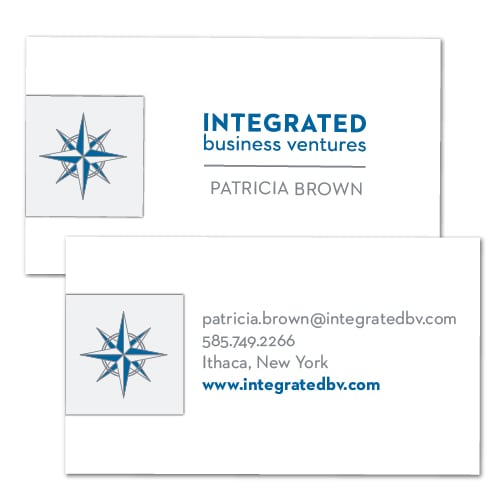 Business Card Design | Integrated Business Ventures | target market focused on buying or selling businesses | company located in Ithaca, NY
