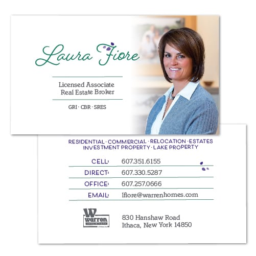 Business Card Design | Laura Fiore | target market focused on home buying and selling, relocation, and commerical real estate |real estate broker located in Ithaca, NY