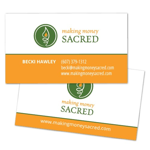 Business Card Design | Making Money Sacred | target market of money education, coaching, efficiency, finance based programs| small money management business located in Ithaca, NY