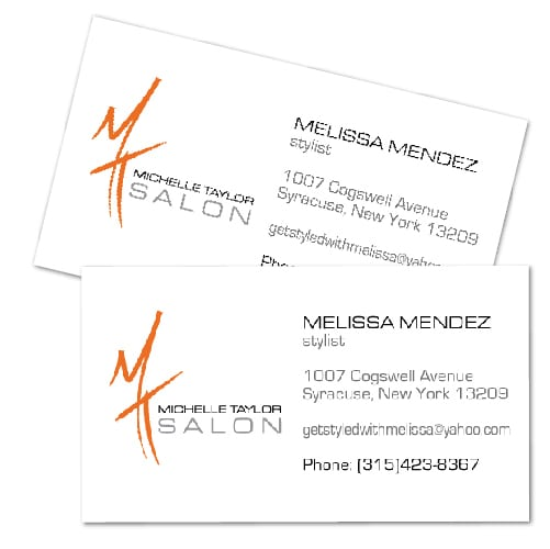 Business Card Design | Michelle Taylor Salon | target market focused on hair and beauty | hair salon located in Syracuse, NY