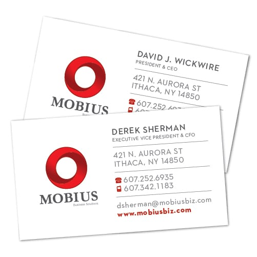 Business Card Design | Mobius Business Solutions | target market focused on businesses, logistics, and management consulting | business located in Ithaca, NY