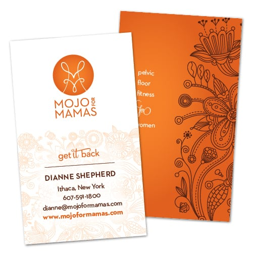 Business Card Design| Mojo For Mamas | target market focused on health, fitness, and mothers | business located in Ithaca, NY