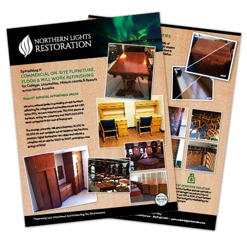 Flyer Design | Northern Lights Restoration | focused target market of restoration, flooring, wood work, and environmentally friendly | restoration business located in Spencer, NY