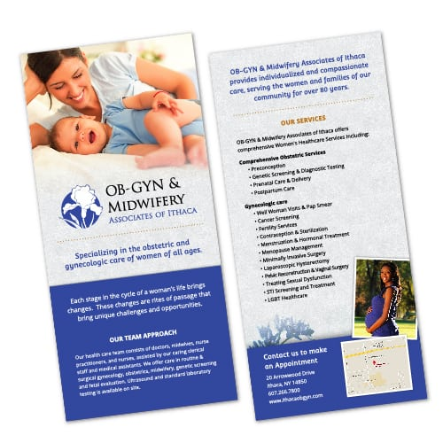 Rack Card Design | OB-GYN & Midwifery Associate of Ithaca | target market of mothers, women, gynecologic care, comprehensive obstetric services, health | ob-gyn located in Ithaca, NY