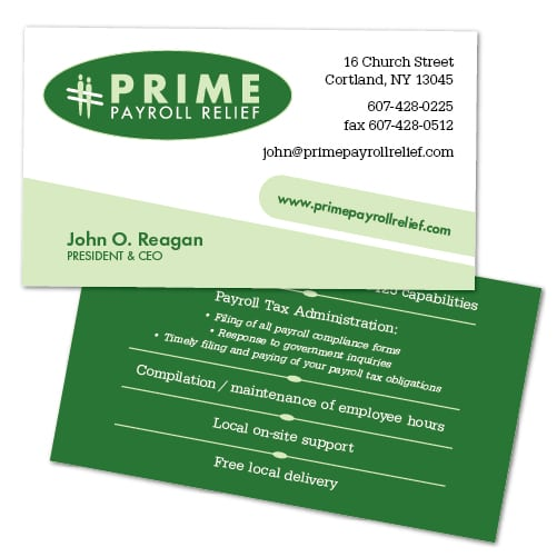 Business Card Design | Prime Payroll Relief | target market on payroll services and businesses | business located in Cortland, NY