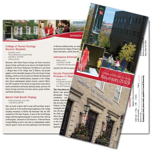 Brochure Design | Cornell College of Human Ecology Reunion 2009 | target market focused on graduates, College of Human Ecology | located in Ithaca, NY