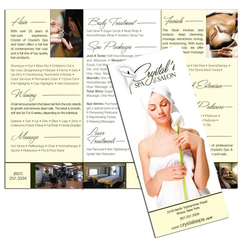 Brochure Design | Crystal's Spa & Salon | target market focus on men, women, haircare, and spa services | spa and salon located in Ithaca, NY